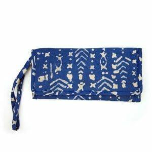 Wristlet-purse, ladies wallet in 100% cotton indigo dyed batik print.
