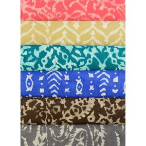 Swatch of batik prints in both natural and AZO Free dyes.