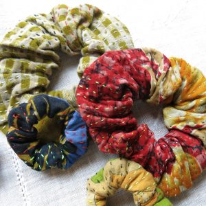 Strong scrunchies in recycled saris, kantha.