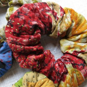 Strong large scrunchies in recycled saris, kantha.