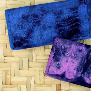 Ladies tie-dye wristlet wallet with strap, zip pocket and card holder.