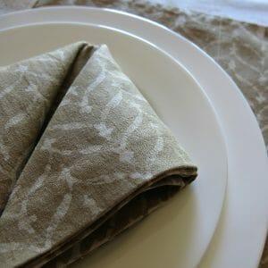 Vegan-friendly natural dye batik print napkin and table mat detail.