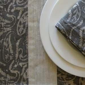 Vegan-friendly natural dye batik print napkin and table mat detail.