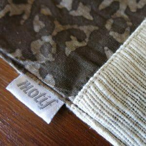 Vegan-friendly plant dye batik print and khadi detail.