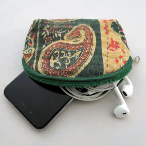 Recycled sari coin purse. Good for small electronic devices, headphones, cards and more.