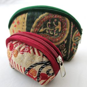 Recycled sari, kantha, coin purses. Small and medium.