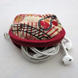 Recycled sari coin purse. Good for earbuds, lip balm, change and more.
