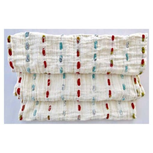 Soft cotton infinity boho scarf threaded through with strips of recycled saris.