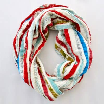 Soft cotton infinity scarf with recycled sari stripes.