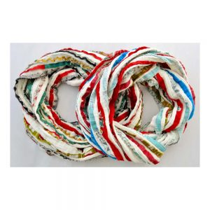 Soft cotton infinity boho scarf with recycled sari stripes.