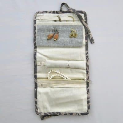 Vegan friendly jewelry roll with natural dye batik prints.