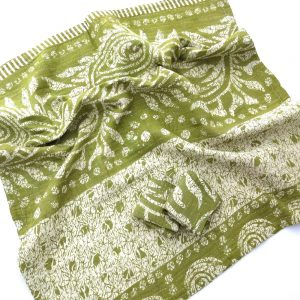 Soft, recycled sari baby blanket with 2 wash cloths.