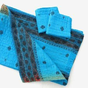 Soft, recycled sari burp cloth with 2 wash cloths.