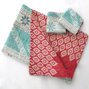 Soft, recycled sari burp cloth with 2 wash cloths.
