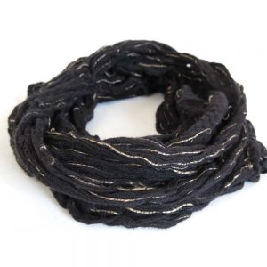Soft cotton and jute net infinity scarf.