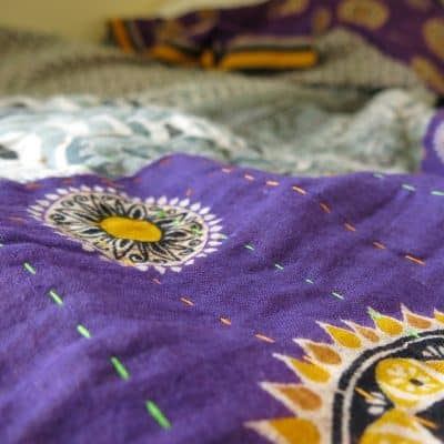 Dhaka style hand-stitched, recycled sari blanket.
