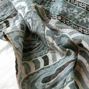 Dhaka style hand-stitched, recycled sari blanket.