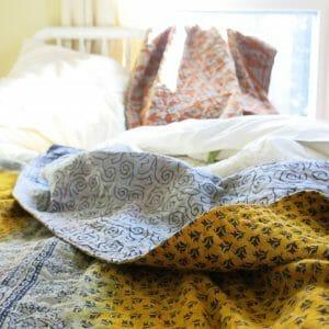 Recycled sari, Jessore kantha bedspread.