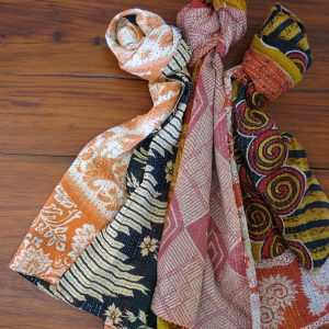 Recycled sari kantha table runner, Jessore style.