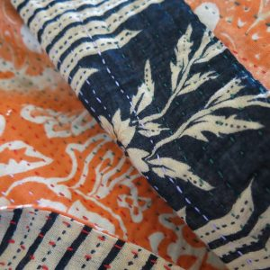 Recycled sari kantha table scarf, Jessore style.