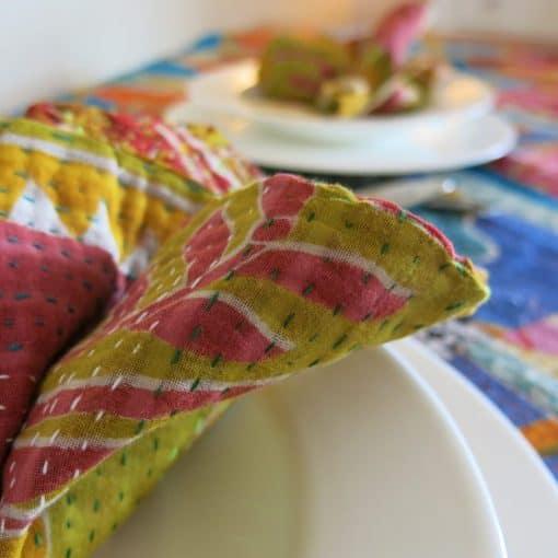 Recycled sari, Jessore kantha napkin.
