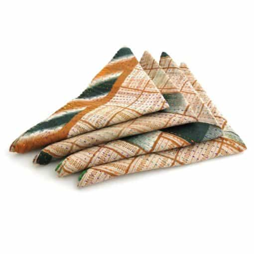 Recycled sari, Jessore kantha 4 pc napkin set.