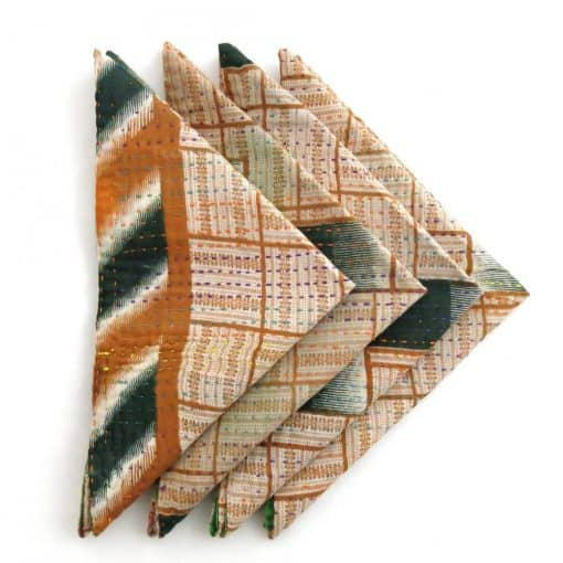 Recycled sari, Jessore kantha 4 pc napkin set.