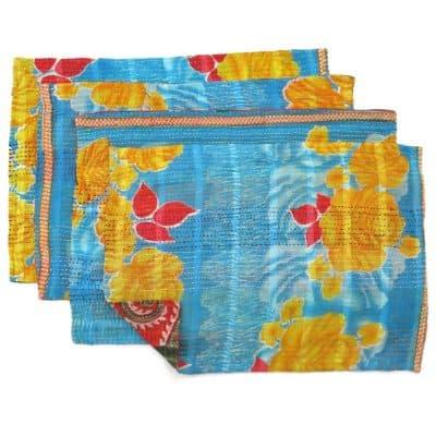 Recycled sari, 4 place mats set, Jessore kantha.