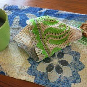 Recycled sari place mat and napkin, Jessore kantha.