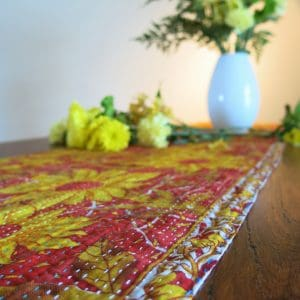 Recycled sari, Jessore kantha table runner.
