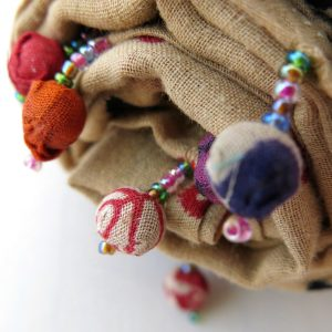 Recycled cotton sari scarf, clay beads and scrunchie.
