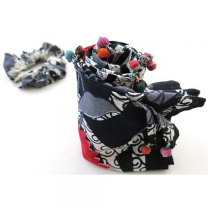 Recycled cotton sari scarf, wrapped clay beads and scrunchie.