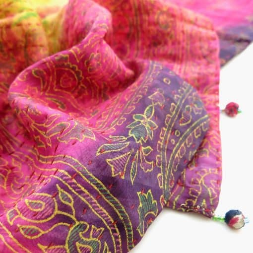 Dhaka kantha silk scarf with recycled saris, clay beads and scrunchie.