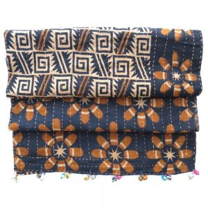 Dhaka kantha scarf with recycled saris and clay beads.