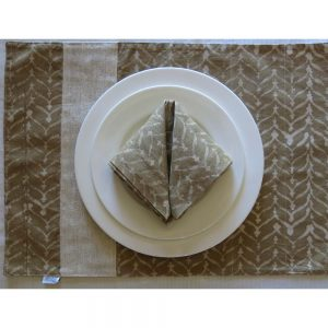 Vegan-friendly place mat and napkin with plant dyed batik prints and handspun, handwoven cotton khadi.