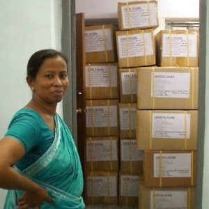 Jharna checks a shipment.