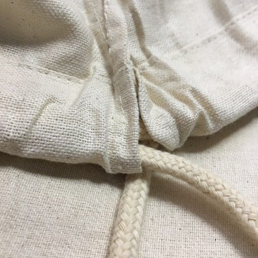 Cotton drawstring backpack, plain for custom work.