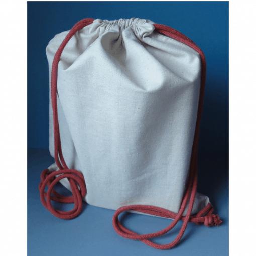 Custom cotton drawstring backpack.