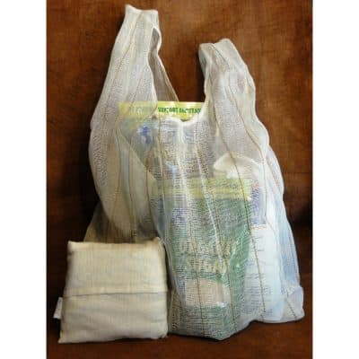 Custom, eco-friendly foldaway shopping bag.