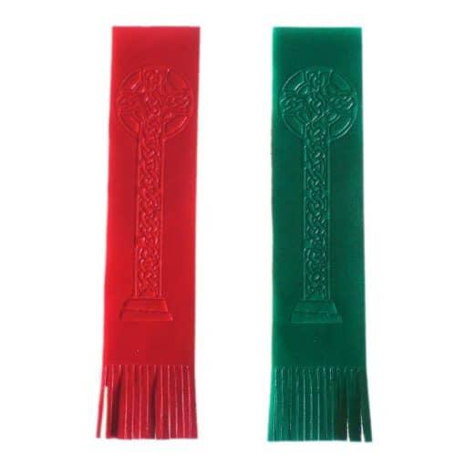 Custom hand embossed leather bookmarks.