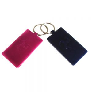 Custom hand embossed leather key rings.
