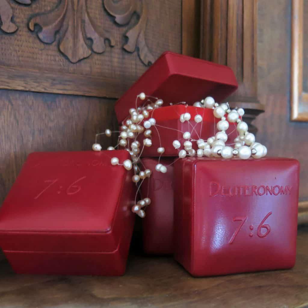 Custom hand embossed leather box.