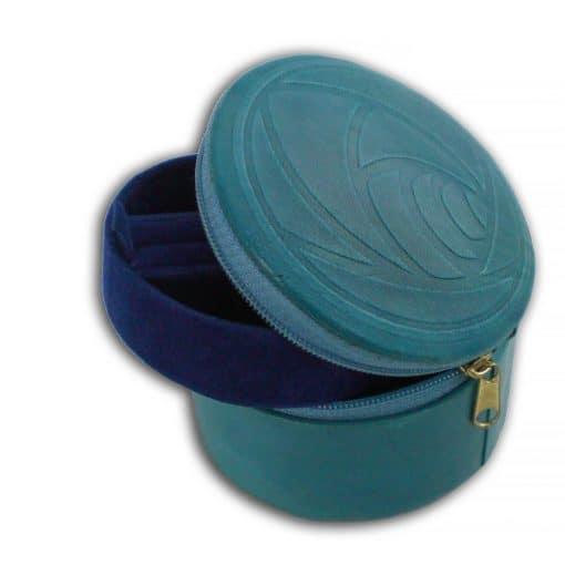 Custom hand embossed leather zipped travel jewelry box.