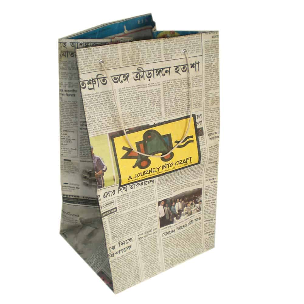 Unique Home Goods: Custom Recycled Bengali Newspaper SET Of 10 BAGS