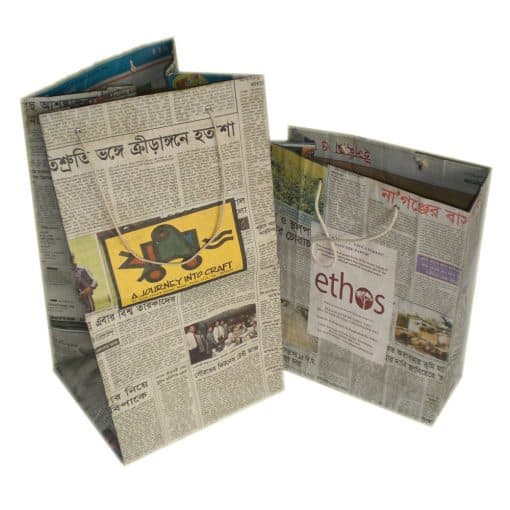 Bengali newsprint bags with strong bamboo paper lining.