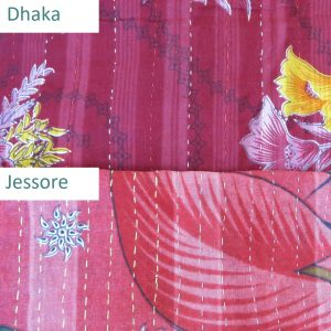 Comparison of Dhaka and Jessore kantha stitches for recycled sari blankets and scarves.