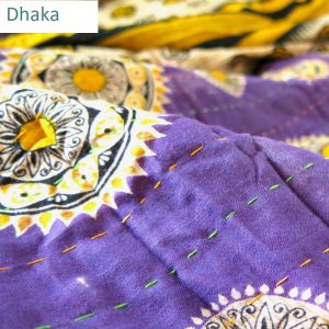 Wider Dhaka kantha stitch on recycled sari quilt.