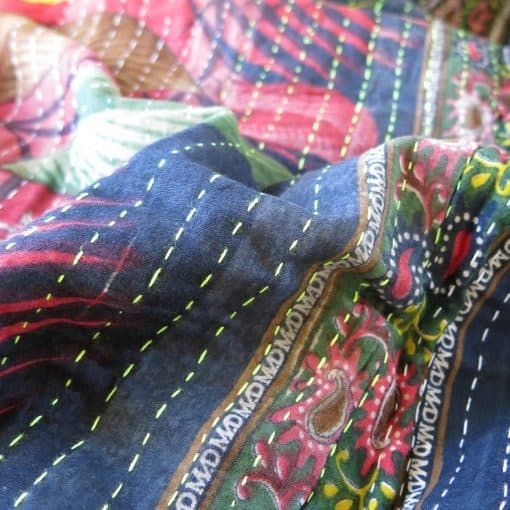 Narrower Jessore kantha stitches for recycled sari blankets and scarves.