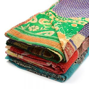 Recycled sari quilts, Jessore stitch.