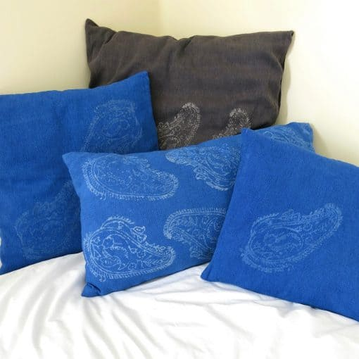 Eco-friendly fabric cushions, handwoven with zero waste cotton, hand batik block printed and natural dyed.